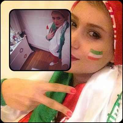 عکسهای پریناز ایزدیار با پرچم ایران | WwW.BestBaz.IR